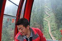 A cable car in the Dagu Glacier park on the south-east edge of the Tibetan Plateau in Sichuan Province, western China.