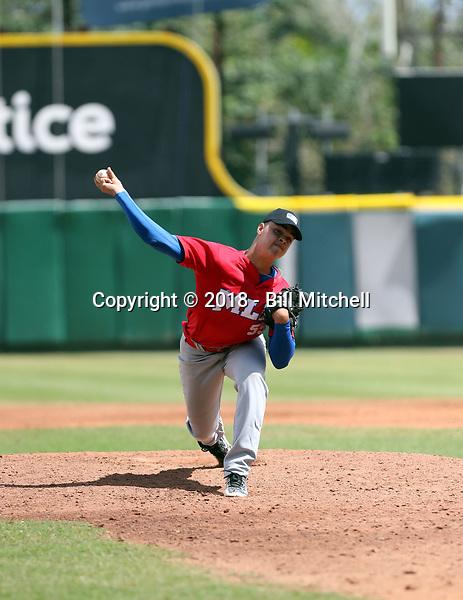 Osiel Rodriguez participates in the MLB Showcase at the Estadio Quisqeye Juan Marichal on February 21-22, 2018 in Santo Domingo, Dominican Republic.