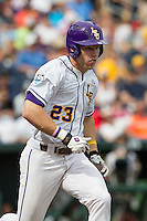LSU Tigers outfielder Jake Fraley (23) runs to first base against the TCU Horned Frogs in the NCAA College World Series on June 14, 2015 at TD Ameritrade Park in Omaha, Nebraska. TCU defeated LSU 10-3. (Andrew Woolley/Four Seam Images)