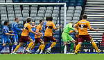Motherwell v St Johnstone.....16.04.11  Scottish Cup Semi-Final.Stephen Craigan (hidden) heads the ball past Peter Enckelman to give Motyherwell the lead.Picture by Graeme Hart..Copyright Perthshire Picture Agency.Tel: 01738 623350  Mobile: 07990 594431