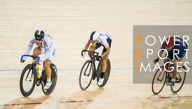 Leung Chung Pak Philip of X SPEED, Li Ka Hei of Noble Cycling Team hk and Szeto Hin Leung of Team Champion System-CSR compete during the Open 30km Points Race at the Hong Kong Track Cycling Race 2017 Series 5 on 18 February 2017 at the Hong Kong Velodrome in Hong Kong, China. Photo by Marcio Rodrigo Machado / Power Sport Images