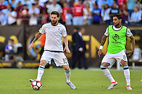 Foxborough, MA - Saturday June 18, 2016: Lionel Messi prior to a Copa America Centenario quarterfinal match between Argentina (ARG) and Venezuela (VEN)  at Gillette Stadium.