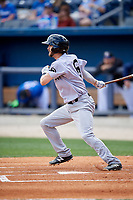 Jackson Generals shortstop Kevin Medrano (6) follows through on a swing during a game against the Biloxi Shuckers on April 23, 2017 at MGM Park in Biloxi, Mississippi.  Biloxi defeated Jackson 3-2.  (Mike Janes/Four Seam Images)