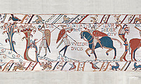 Bayeux Tapestry scene 50:  A saxon watchman warns of the approaching Norman army. BYX50