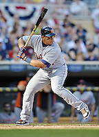 29 September 2012: Detroit Tigers third baseman Miguel Cabrera in action against the Minnesota Twins at Target Field in Minneapolis, MN. The Tigers defeated the Twins 6-4 in the second game of their 3-game series. Mandatory Credit: Ed Wolfstein Photo