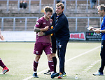 Forfar v St Johnstone…28.07.18…  Station Park    Betfred Cup<br />Matty Kennedy gets a well done from manager Tommy Wright as he is subbed<br />Picture by Graeme Hart. <br />Copyright Perthshire Picture Agency<br />Tel: 01738 623350  Mobile: 07990 594431