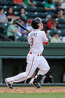 Second baseman Bryan Johns (3) of the Greenville Drive in a game against the Hickory Crawdads on Friday, June 7, 2013, at Fluor Field at the West End in Greenville, South Carolina. Greenville won the resumption of this May 22 suspended game, 17-8. (Tom Priddy/Four Seam Images)