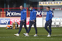 3rd April 2021; Dens Park, Dundee, Scotland; Scottish FA Cup Football, Dundee FC versus St Johnstone; Shaun Rooney, Jason Kerr and ChrisKane of St Johnstone inspect the pitch before the match