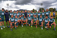 The Highlanders pose for a group photo after the 2021 Bunnings Super Rugby Aotearoa Under-20 rugby match between the Hurricanes and Highlanders at Owen Delaney Park in Taupo, New Zealand on Tuesday, 14 April 2021. Photo: Dave Lintott / lintottphoto.co.nz