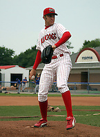 July 26, 2003:  pitcher Victor Menocal of the Batavia Muckdogs during a game at Dwyer Stadium in Batavia, New York.  Photo by:  Mike Janes/Four Seam Images