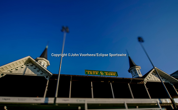 August 30, 2020: The infamous Twin Spires is the scene as horses prepare for the 2020 Kentucky Derby and Kentucky Oaks at Churchill Downs in Louisville, Kentucky. The race is being run without fans due to the coronavirus pandemic that has gripped the world and nation for much of the year. John Voorhees/Eclipse Sportswire/CSM