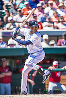 14 March 2014: Detroit Tigers outfielder Austin Jackson at bat during a Spring Training Game against the Washington Nationals at Joker Marchant Stadium in Lakeland, Florida. The Tigers defeated the Nationals 12-6 in Grapefruit League play. Mandatory Credit: Ed Wolfstein Photo *** RAW (NEF) Image File Available ***