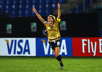 Kristie Mewis (USA) celebrates her teams win..FIFA U17 Women's World Cup, Semi Final, Germany v USA, QEII Stadium, Christchurch, New Zealand, Thursday 13 November 2008. Photo: Renee McKay/PHOTOSPORT