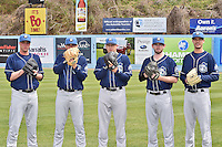 Asheville Tourists starting pitchers Trey Killian (21), Peter Lambert (24), Parker French (33), David Hill (34) and Jack Wynkoop (11) pose for photo during media day at McCormick Field on April 6, 2016 in Asheville, North Carolina. (Tony Farlow/Four Seam Images)