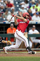 Louisville Cardinals third baseman Alex Binelas (13) follows through on his swing during Game 7 of the NCAA College World Series against the Auburn Tigers on June 18, 2019 at TD Ameritrade Park in Omaha, Nebraska. Louisville defeated Auburn 5-3. (Andrew Woolley/Four Seam Images)