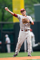 Shortstop Caleb Bushyhead #5 of the Oklahoma Sooners throws against the Texas Longhorns in NCAA Big XII baseball on May 1, 2011 at Disch Falk Field in Austin, Texas. (Photo by Andrew Woolley / Four Seam Images)