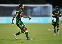 LAKE BUENA VISTA, FL - JULY 18: Jeremy Ebobisse #17 of the Portland Timbers watches his pass during a game between Houston Dynamo and Portland Timbers at ESPN Wide World of Sports on July 18, 2020 in Lake Buena Vista, Florida.