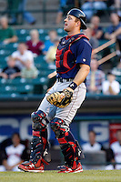 Lehigh Valley IronPigs catcher Erik Kratz #19 during a game against the Rochester Red Wings at Frontier Field on August 18, 2011 in Rochester, New York.  Lehigh Valley defeated Rochester 11-1.  (Mike Janes/Four Seam Images)