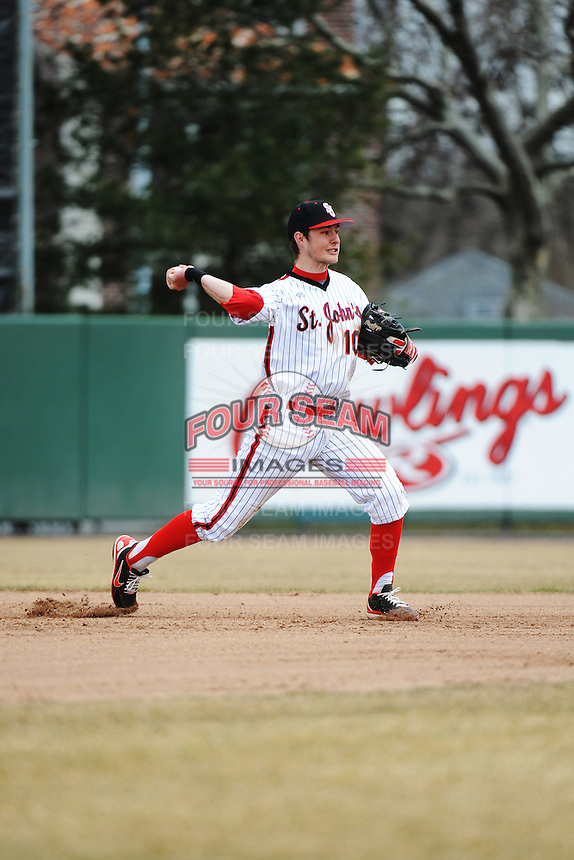 St. John's University Redstorm infielder Kyle Lombardo (10) during game 1 of a double header against the University of Cincinnati Bearcats at Jack Kaiser Stadium on March 28, 2013 Queens, New York.  St. John's defeated Cincinnati 6-5 in game 1.                                                                 (Tomasso DeRosa/ Four Seam Images)