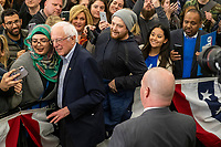 Democratic presidential candidate and Vermont senator Bernie Sanders greets people after speaking at a campaign event at Hampshire Hills Athletic Club in Milford, New Hampshire, on Tue., Feb. 4, 2020. The  event started around 7pm and was the first event Sanders held after the previous day's Iowa Caucuses. The results of the caucuses were unknown until the Democratic party released partial numbers at 5pm, showing Sanders and former South Bend, Ind., mayor Pete Buttigieg both as frontrunners.