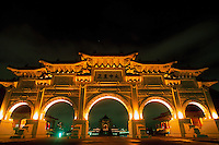Illuminated entrance to Chaing Kai-shek Park at night, Taipei, Taiwan
