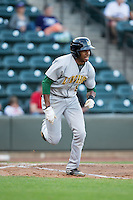 Greg Allen (9) of the Lynchburg Hillcats starts down the first base line against the Winston-Salem Dash at BB&T Ballpark on April 28, 2016 in Winston-Salem, North Carolina.  The Dash defeated the Hillcats 4-1.  (Brian Westerholt/Four Seam Images)