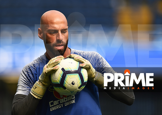 Wilfredo Caballero of Chelsea warms up during the Premier League match between Chelsea and Bournemouth at Stamford Bridge, London, England on 1 September 2018. Photo by Vince  Mignott / PRiME Media Images.