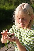 Kind beobachtet Teichfrosch, mit Frosch auf der Hand, Teich-Frosch, Grünfrosch, Frosch, Frösche, Pelophylax esculentus, Rana kl. esculenta, European edible frog