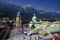 aerial, Innsbruck, Austria, Tirol, Alps, Aerial view of the city of Innsbruck and the Alps.