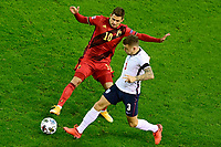 15th November 2020; Leuven, Belgium;  Thorgan Hazard midfielder of Belgium battles for the ball with Kieran Trippier defender of England during the UEFA Nations League match group stage final tournament - League A - Group 2 between Belgium and England