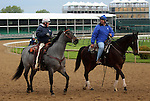 April 26, 2015 Kentucky Derby and Oaks workouts, Churchill Downs. Trainers Larry Jones (left) and Steve Asmussen.  ©Mary M. Meek/ESW/CSM