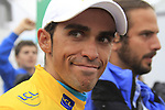 Alberto Contador (Astana) keeps the Yellow Jersey after finishing on the summit of the Col du Tourmalet during a wet foggy Stage 17 of the 2010 Tour de France at Palais Beaumont from Pau to Col du Tourmalet, 22nd July 2010 (Photo by Eoin Clarke/NEWSFILE)