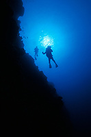 divers on coral dropoff, Yap, Federated States of Micronesia, (Western Pacific Ocean)