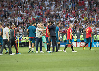 Moscow, Russia- July 1, 2018: Russia vs Spain, round of 16, 2018 World Cup.  Final score Spain 1, Russia 1, Russia wins 4-3 on penalty kicks.