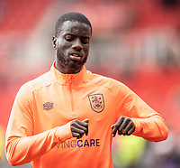 11th September 2021;  Bet365 Stadium, Stoke, Staffordshire, England; EFL Championship football, Stoke City versus Huddersfield Town; Naby Sarr of Huddersfield Town during the warm up