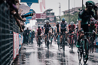 Chris Froome (GBR/SKY) rolling in after finishing in the rain<br /> <br /> stage 17: Riva del Garda - Iseo (155 km)<br /> 101th Giro d'Italia 2018