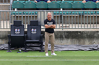 CARY, NC - AUGUST 01: Dave Sarachan yells instructions to his team during a game between Birmingham Legion FC and North Carolina FC at Sahlen's Stadium at WakeMed Soccer Park on August 01, 2020 in Cary, North Carolina.