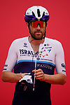 Alex Dowsett (GBR) Isreal Start-Up Nation at sign on before the start of Stage 5 of the 2021 UAE Tour running 170km from Fujairah to Jebel Jais, Fujairah, UAE. 25th February 2021.  <br /> Picture: Eoin Clarke   Cyclefile<br /> <br /> All photos usage must carry mandatory copyright credit (© Cyclefile   Eoin Clarke)