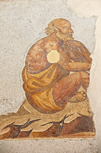6th century Byzantine Roman mosaics of a man thinking, possibly a philospher, from the peristyle of the Great Palace from the reign of Emperor Justinian I. Istanbul, Turkey.