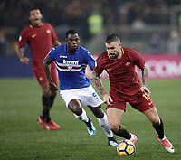 Calcio, Serie A: AS Roma - Sampdoria, Roma, stadio Olimpico, 28 gennaio 2018. <br /> Roma's Aleksandar Kolarov (r) in action with Sampdoria's Duvàn Zapata (l) during the Italian Serie A football match between AS Roma and Sampdoria at Rome's Olympic stadium, January 28, 2018.<br /> UPDATE IMAGES PRESS/Isabella Bonotto