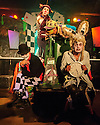 """Edinburgh, UK. 24.08.2016. Characters from Pyratrix Circus' production of """"Alice in Wasteland"""" pose for photos before a show. The show is on at Studio 24 (Venue 253) as part of Edinburgh Festival Fringe. Photograph © Jane Hobson."""