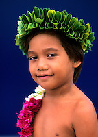 Young boy dancer, Tahiti, French Polynesia, South Pacific Rim