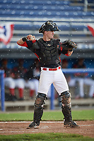 Batavia Muckdogs catcher Alex Jones (43) throws the ball back to the pitcher during a game against the West Virginia Black Bears on June 25, 2017 at Dwyer Stadium in Batavia, New York.  Batavia defeated West Virginia 4-1 in nine innings of a scheduled seven inning game.  (Mike Janes/Four Seam Images)