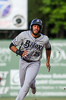 Biloxi Shuckers Dillon Thomas (25) runs to third base during a Southern League game against the Jackson Generals on June 14, 2019 at The Ballpark at Jackson in Jackson, Tennessee. Jackson defeated Biloxi 4-3. (Brad Krause/Four Seam Images)