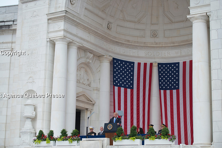 President Donald J. Trump gives remarks on Memorial Day at Arlington National Cemetery's Memorial Amphitheater, Arlington, Va., May 29, 2017.  Trump also laid a wreath at the Tomb of the Unknown Soldier.  (U.S. Army photo by Elizabeth Fraser / Arlington National Cemetery / released)