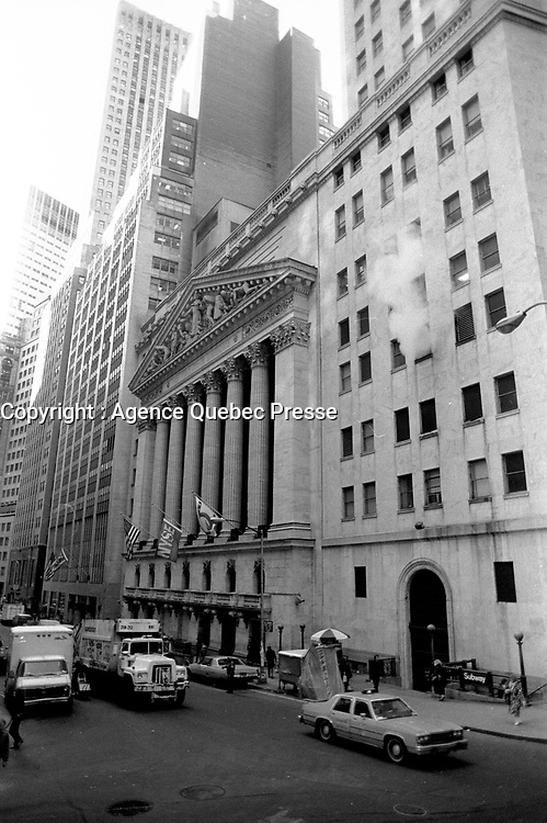 New-YORK, USA  - File Photo -  Pedestrians walk near the New-York Stock Exchange on Wall Street early morning February 1st, 1988.<br /> <br /> Photo : agence quebec presse - Pierre Roussel