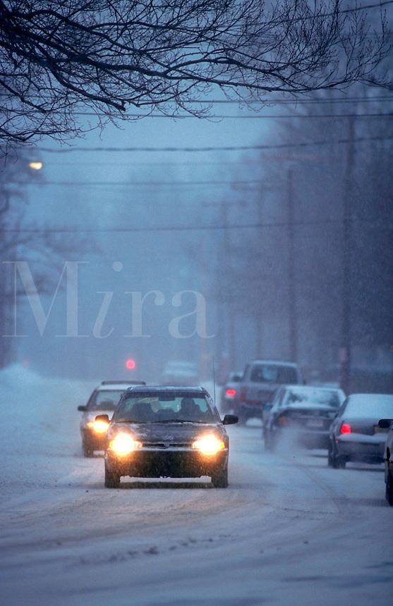 Driving through snowstorm.