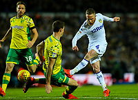 Leeds United's Adam Forshaw shoots at goal under pressure from Norwich City's Christoph Zimmermann<br /> <br /> Photographer Alex Dodd/CameraSport<br /> <br /> The EFL Sky Bet Championship - Leeds United v Norwich City - Saturday 2nd February 2019 - Elland Road - Leeds<br /> <br /> World Copyright © 2019 CameraSport. All rights reserved. 43 Linden Ave. Countesthorpe. Leicester. England. LE8 5PG - Tel: +44 (0) 116 277 4147 - admin@camerasport.com - www.camerasport.com