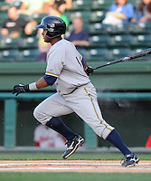 Outfielder Zoilo Almonte (7) of the Charleston RiverDogs, Class A affiliate of the New York Yankees, in a game against the Greenville Drive on May 27, 2010, at Fluor Field at the West End in Greenville, S.C. He was named to the 2010 South Atlantic League All-Star team. Photo by: Tom Priddy/Four Seam Images