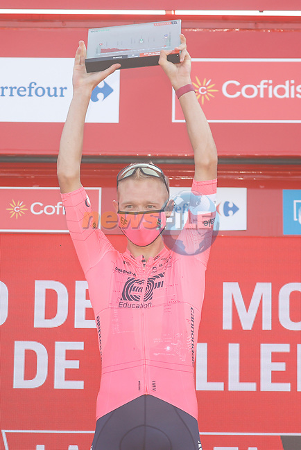 Magnus Cort Nielsen (DEN) EF Education-Nippo from the breakaway wins Stage 6 of La Vuelta d'Espana 2021, running 158.3km from Requena to Alto de la Montaña Cullera, Spain. 19th August 2021.    <br /> Picture: Luis Angel Gomez/Photogomezsport | Cyclefile<br /> <br /> All photos usage must carry mandatory copyright credit (© Cyclefile | Luis Angel Gomez/Photogomezsport)